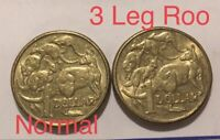 🇦🇺2x 2015 Three 3 Leg Roo $1 One Dollar Error AKA Missing Leg Coins📮FREE POST