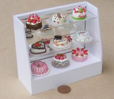 1:12 Scale White Painted Display Cabinet With 9 Cakes Tumdee Dolls House D1b