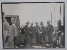 altes Foto Militär mit Tropenhelm um 1900 Schutztruppe auf Schiff  Kolonie