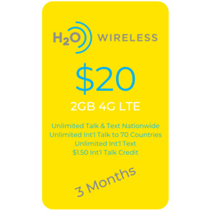 AT&T Network $20 Plan 2GB LTE Unlimited Minutes/Text 3 MONTHS Included+SIM Card