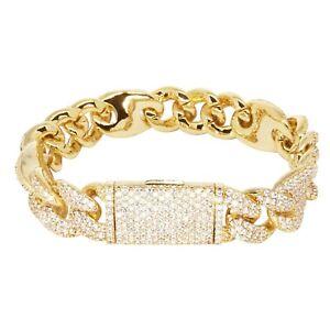 Iced Cuban Link Out VVS Diamond Bracelet 16mm 18K Gold Plated Rapper Jewellery