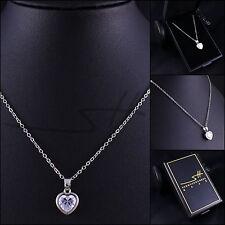 Kette Halskette *Edles Herz Zirkonia*, Weißgold pl., Swarovski Elements, +Etui