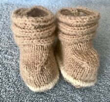 NEW - HAND KNITTED Baby Ugg BOOTEES - Fawn and White - Newborn to 3 Months