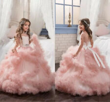 Blush Puffy Ball Wedding Pageant Communion Girl's Formal Wear Flower Girls Dress