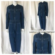 M&S Womens Denim Belted Boilersuit Jumpsuit Tie Belt 4 pockets Size 6-20 RRP £75
