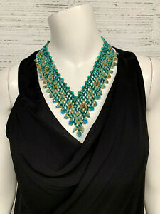 Glass Multi color Seed Bead Turquoise Necklace with Glass Beads Large & Small