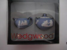 RARE WEDGWOOD BLUE JASPER MINIATURE TINY LIDDED SUGAR & MILK JUG DOLL HOUSE SIZE