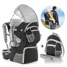 Fillikid Rückentrage Baby und Kinder Babytrage mit Sonnenschutz  & Gurt - Grau