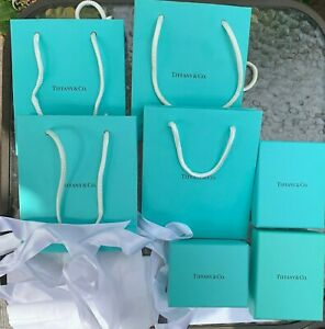 Tiffany & Co. Small Paper Shopping Gift Bag/Boxes Lot- Authentic - Empty