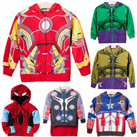 Marvel Superhero Sweatshirt Boys Hoodies Coats Top Children Kids Outwear Sweater