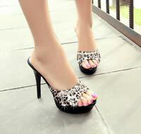 New Womens High Heel Stiletto Leopard Open Toe Slippers Shoes Sandals Mule Party