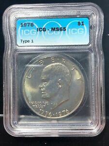 1976 Type 1 Eisenhower IKE $1 Dollar CLAD Coin MS 65 Original Mint Luster #1301