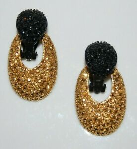 ELEGANT ST JOHN COUTURE BLACK & GOLD PAVE CRYSTALS DOORKNOCKERS CLIP-ON EARRINGS