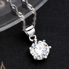 New Sterling Silver Plated Classic Shiny Crystal Necklace Chain Pendent Gift