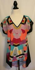 City Chic Black Orange Yellow Purple Colour Block Double V Kaftan Dress XS