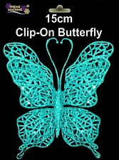 15cm Glittery Turquoise Clip On Butterfly Christmas & All Year Decoration DP8B