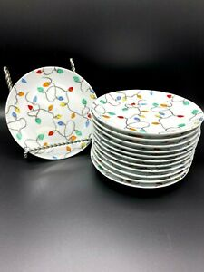 Pottery Barn Christmas Lights Appetizer Plates Set of 12! Excellent!
