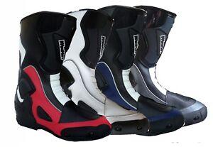 bottes racing pour moto eun cuir NEUF 35 36 37 38 39 40 41 42 43 44 45 46 47 48