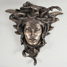 Medusa Guardian Head Wall Plaque Sculpture Cold Cast Bronze Gift Home Deco 34078