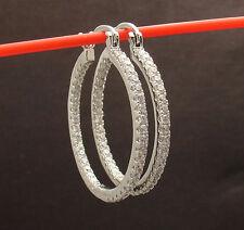"1 1/4"" Prong Set Clear Zircon CZ Inside Out Round Hoop Earrings Brass"