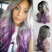 Women's Long Synthetic Lace Front Wig Body Wavy Ombre 1B/Gray/Lavender Wigs