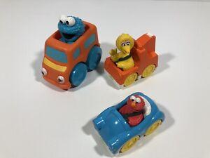 Lot of 3 Sesame Street Cars Bakery Crafts Hasbro Big Bird Cookie Monster Elmo