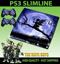 PLAYSTATION PS3 SLIM STICKER MOONLIGHT GOTHIC FAIRY SILHOUETTE SKIN & 2 PAD SKIN
