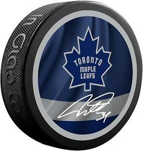 Auston Matthews Toronto Maple Leafs Autographed Reverse Retro Logo Hockey Puck