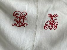 Da monogram Soft Heavy antique French linen sheet Nubby heavy