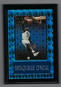 "Vintage 1990s 6.5"" x 4.5"" Card Plaque Shaq Shaquille O'neal Orlando Magic #3"