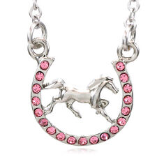 Pink Horse Mustang Pony Horseshoe Necklace Pendant Good Luck Charm Cowboy z1