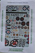 XTRADECAL 1/72 x72132 STORIA DI NO 111 squadron RAF, Set di decalcomanie 1918-2011