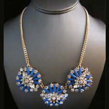 NEW Urban Anthropologie Tresa Spindle Flower Blue Bead Gold Necklace