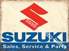 Suzuki Classic 70's Retro Motorcycle, Bike 109 Old Garage, Small Metal Tin Sign