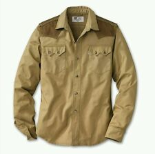 LEVI FILSON WESTERN SAWTOOTH POCKET TAN SHIRT M / S TIN CLOTH YOKE USA VTG LVC