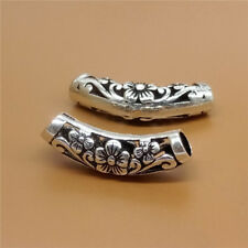 Sterling Sliver Flower Curve Tube Bead 925 Silver Large Hole for Bracelet