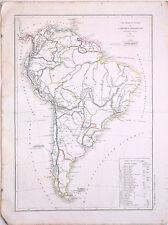 Carte de l'AMERIQUE MERIDIONALE, L. Dussieux 1845. 33.5 x 44 cm. Amérique du Sud