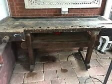 Antique 1800's Carpenters Woodworkers Wood Bench 2 Vises 2 Pc Castors