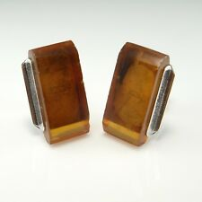 Russian Amber Jewelry Cufflinks Cuff Links Silver Mid Century Baltic Natural