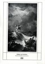 Fr. Preller Odysseus und Leukothea Sagen- Motiv Histor. Kunstdruck v. 1909