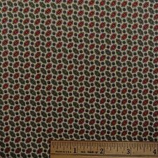 Cotton Quilt Sewing Fabric Christmas Red Green Gold Hexagon Beige Pattern - BTY