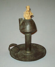 Old antique vtg 19th C 1850s Tin Oil Lamp Hand Made Folk Art Candle Holder Light