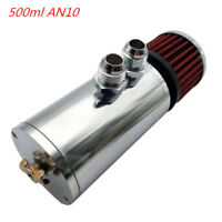 Aluminium Baffled Engine Oil Catch Can 2XAN10 500ml Twin Port Breather Filter SL