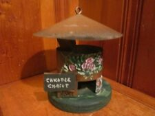 Vintage Hand Crafted Painted Metal Bird House Wood Base Tin Roof Chicadee Chalet