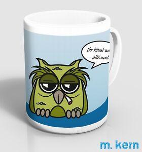 Tassen Ihr könnt mich alle mal 9,5 cm Kaffee Eule Spruch lustig Becher Keramik