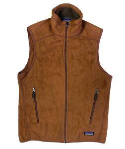 Patagonia Mens Full Zip Outdoor Fleece Vest Jumper Size Small Brown