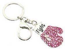 Pink Ribbon Key Chain Boxing Glove Rhinestone Breast Cancer Awareness Fight Hope