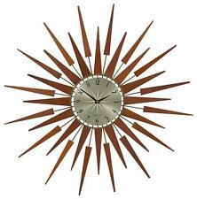 "mid century danish modern nelson style starburst sunburst star wall clock 26"" d"