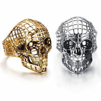 Men's Fashion Silver Gold Vintage Hollow Skull Punk Hip Hop Biker Jewelry Rings