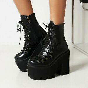 Womens Zip Platform Motorcycle Boots Chunky Block High Heel Lace Up Riding Boots